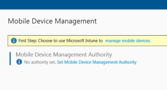 How to reset Mobile Device Management Authority from Config Mgr to