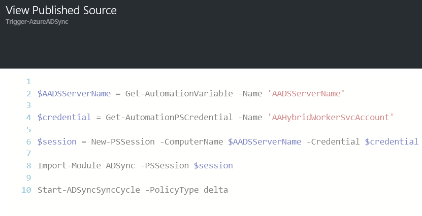 Trigger Azure AD Connect Sync Scheduler with Azure