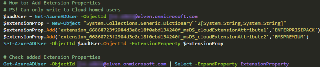 Working with Azure AD Extension Attributes with Azure AD