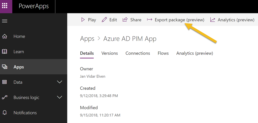 Exporting and Importing PowerApps and Flows Package that use a