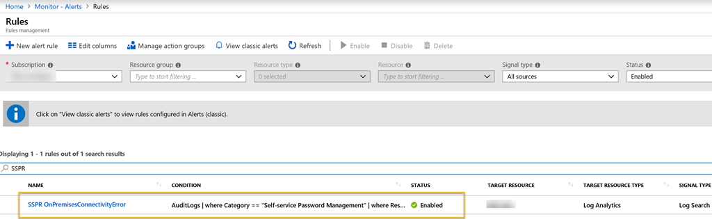 Alert on On-premises Connectivity for Self Service Password Reset